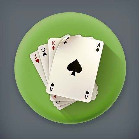 card game: Playing Cards, long shadow vector icon