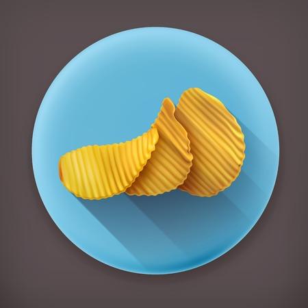 prepared potato: Potato chips long shadow vector icon Illustration