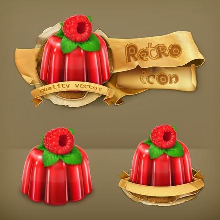 GELATIN: Raspberry jelly, retro vector icon Illustration