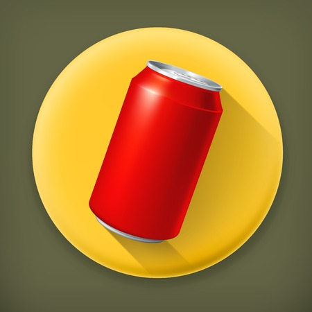 Red Can, long shadow vector icon Illustration