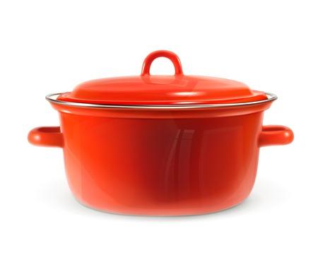 Red saucepan, photo realistic vector illustration Illustration