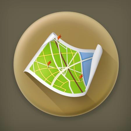 Road Map, long shadow vector icon Vector