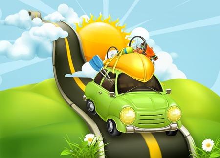 familia viaje: Viajar en coche, ilustración vectorial