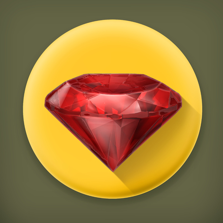 adamant: Ruby red, long shadow vector icon