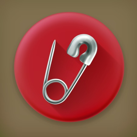 safety pin: Safety pin, long shadow vector icon