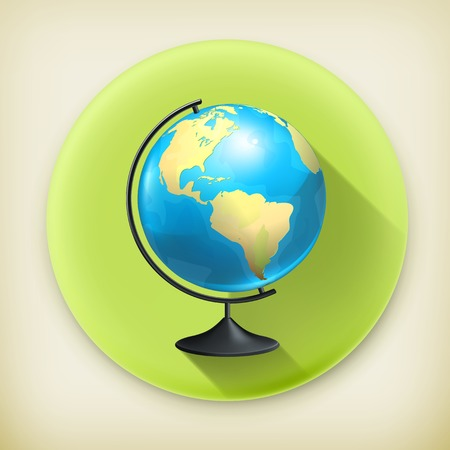School globe, long shadow vector icon Vector