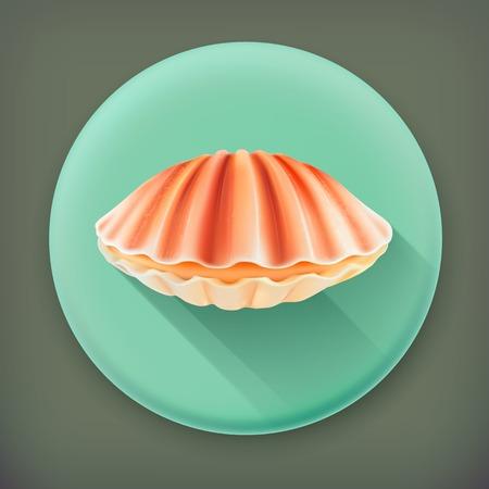 Seashell, long shadow vector icon Vector