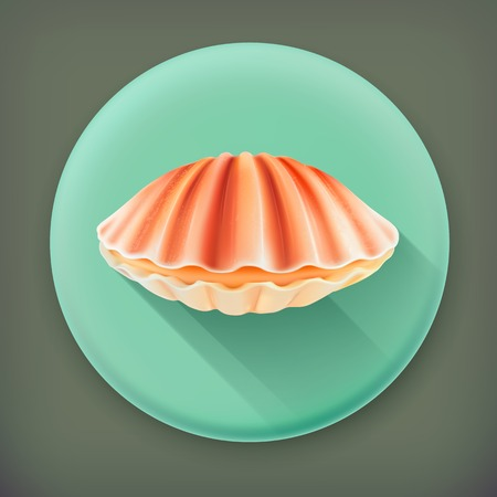 Seashell, long shadow vector icon