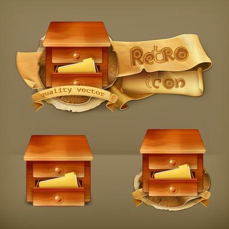 file box: Secretary desk, vector icon Illustration