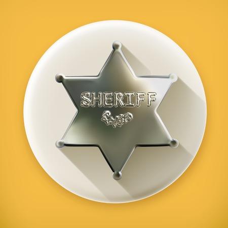 保安官星、長い影のベクトルのアイコン