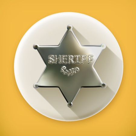 marshal: Sheriff star, long shadow vector icon Illustration