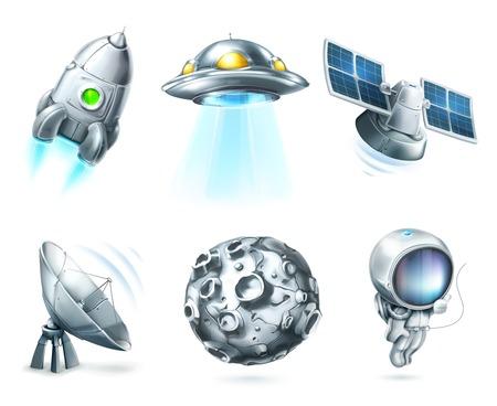 luna caricatura: Espacio, conjunto de iconos vectoriales en blanco Vectores