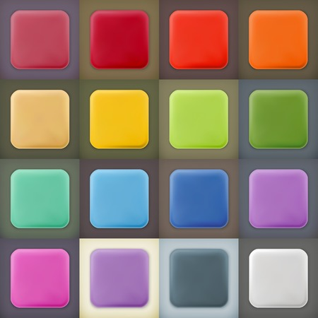 square buttons: Square empty blanks web icons and buttons with drop shadow on color backgrounds Illustration