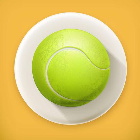 tennisball: Tennis-ball, long shadow vector icon Illustration
