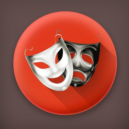 tragedy mask: Theater masks long shadow vector icon