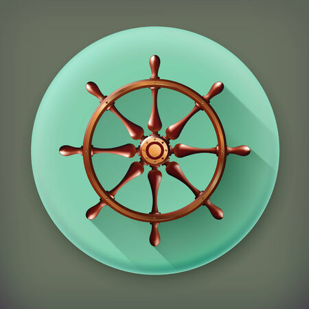 schooner: Ships wheel, long shadow vector icon