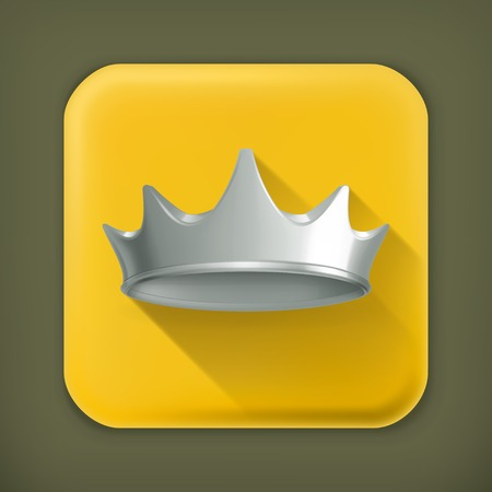 Silver crown, long shadow vector icon Vector