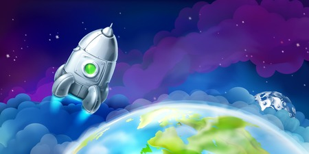 space flight: Space, vector background for website Illustration