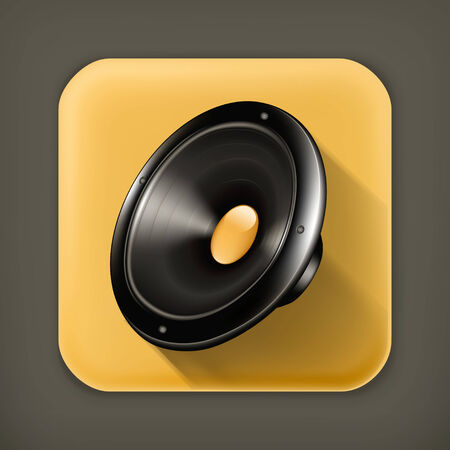 loud speaker: Speaker, long shadow vector icon Illustration