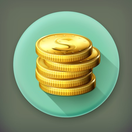 Stack of coins long shadow vector icon Vector
