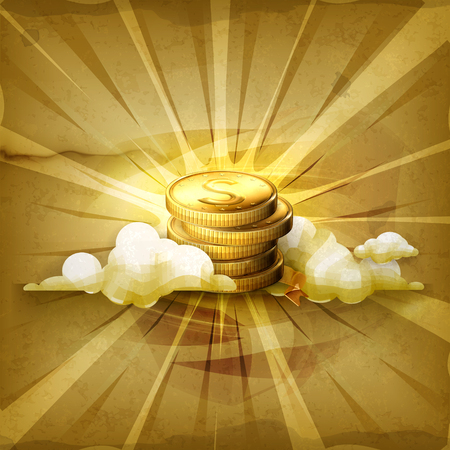 money background: Stack of coins, old style vector background Illustration