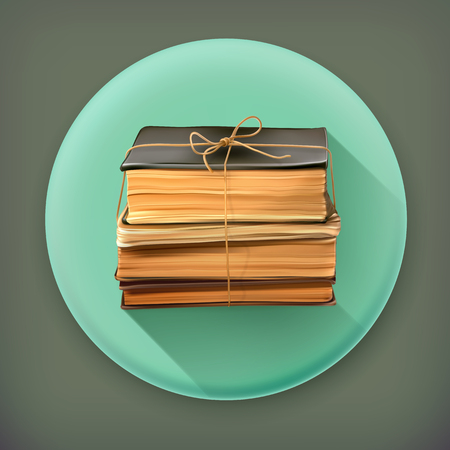 libros viejos: Pila de libros antiguos iconos de vectores larga sombra