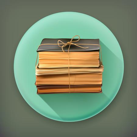 Pila di vecchi libri lunga ombra di icone vettoriali Archivio Fotografico - 31975198