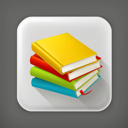textbooks: Stack of textbooks, long shadow vector icon