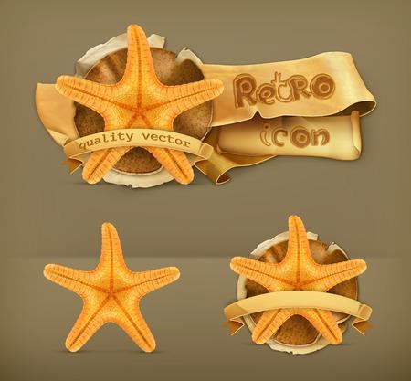 seastar: Starfish retro vector icon