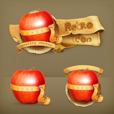 Tape measurement and apple, retro vector icon Vector