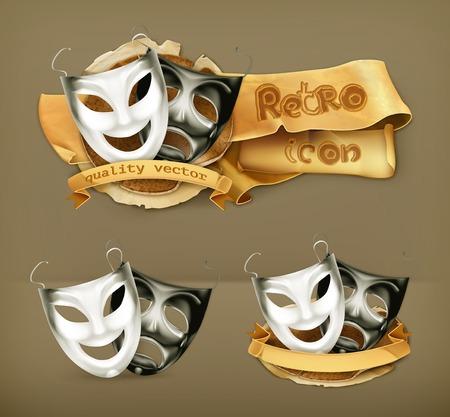 pantomima: Máscaras del teatro, icono vector