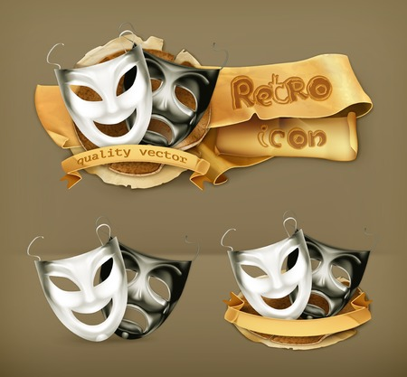 tragedy mask: Theater masks, vector icon