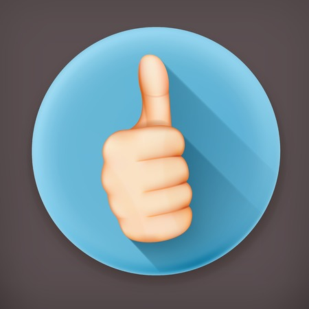 nice guy: Thumb up, long shadow vector icon