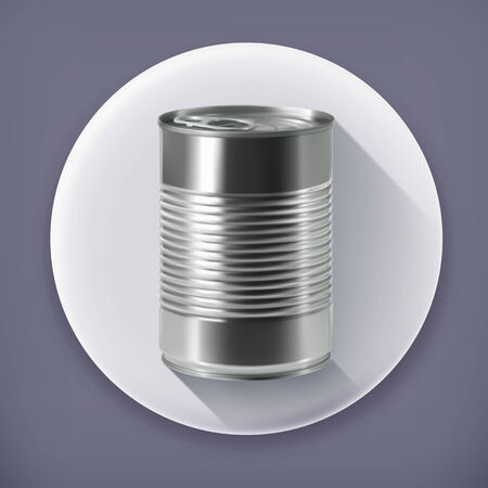 canned food: Tin can, long shadow vector icon