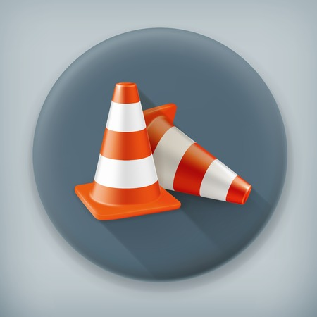 traffic pylon: Traffic cone, long shadow vector icon
