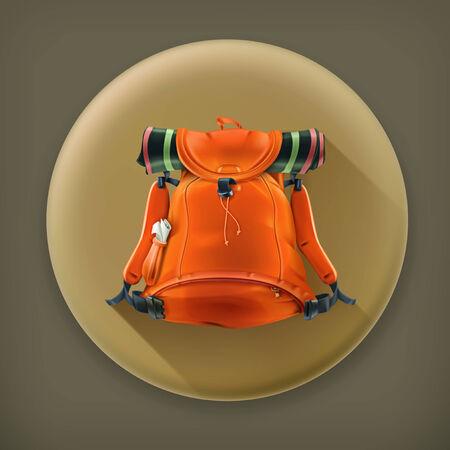 mochila de viaje: Mochila de viaje, icono vector larga sombra Vectores