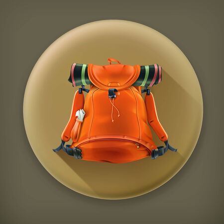 luggage bag: Travel backpack, long shadow vector icon