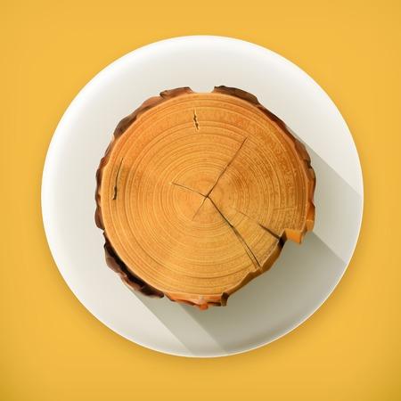 tree ring: Tree stump, long shadow vector icon