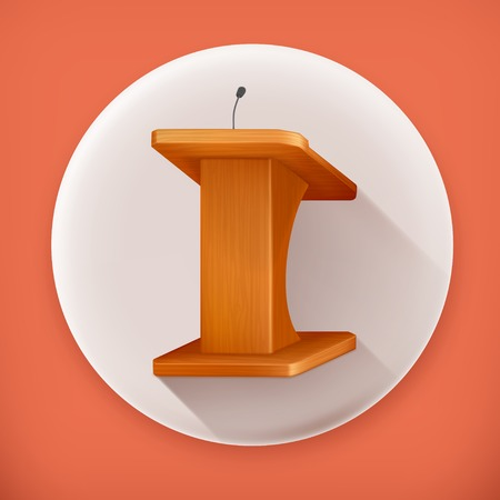orator: Tribune, long shadow vector icon Illustration