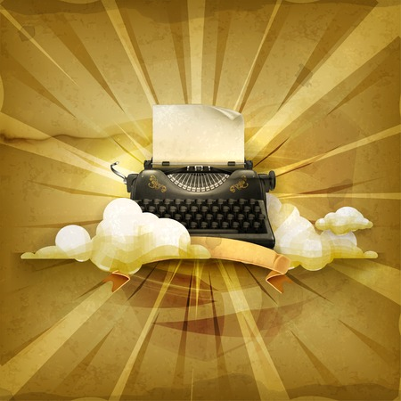 classic authors: Typewriter, old style vector background Illustration
