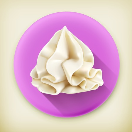 Whipped cream, long shadow vector icon
