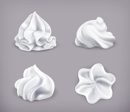 soft object: Whipped cream, vector icon set Illustration