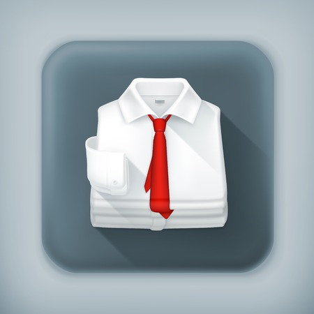 dress shirt: White Dress shirt, long shadow vector icon