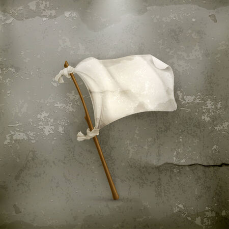 surrendering: White flag old style vector