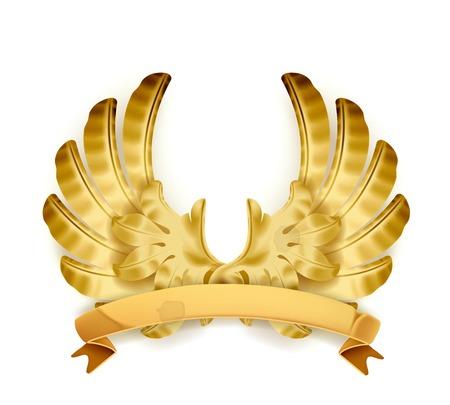 Wings, golden emblem Vector