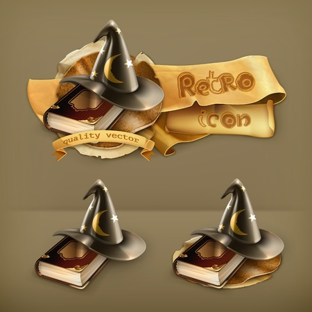 book vector: Wizard hat and old book vector icon