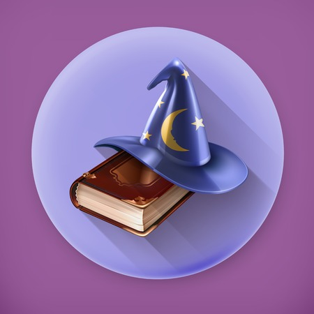 wizard: Wizard hat and old book, long shadow vector icon