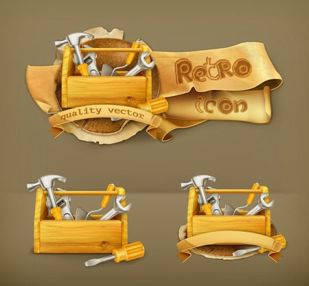 toolbox: Wooden toolbox vector icon