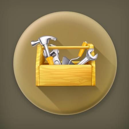 long recovery: Wooden toolbox, long shadow vector icon