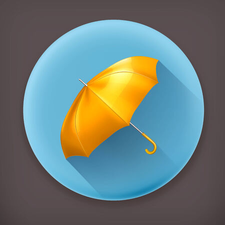 yellow umbrella: Yellow umbrella, long shadow vector icon